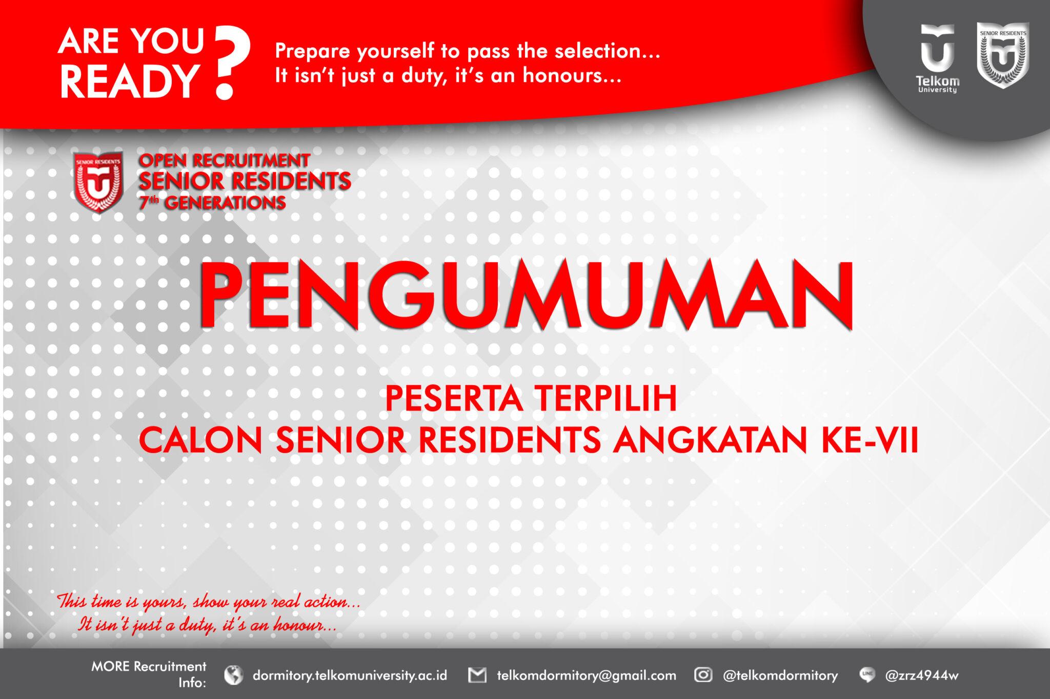 [PENGUMUMAN_SRVII] Calon Senior Residents ke-VII Terpilih